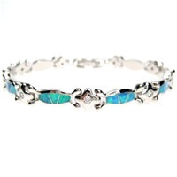 Silver Bracelet (Rhodium Plated) w/ Inlay Created Opal