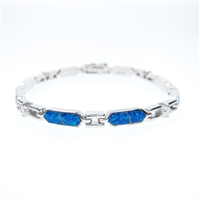 Silver Bracelet with Created Opal and White CZ