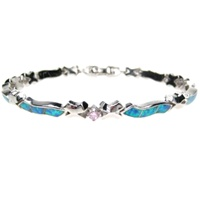 Silver Bracelet (Rhodium Plated) w/ Inlay Created Opal & Pink CZ