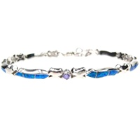 Silver Bracelet (Rhodium Plated) w/ Inlay Created Opal & Tanzanite CZ