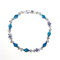 Sterling Silver Bracelet with Inlay Created Opal & Tanzanite CZ