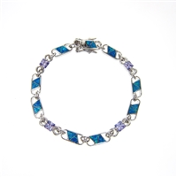 Silver Bracelet with Created Opal, White and Tanzanite CZ