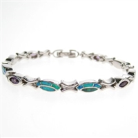 Silver Bracelet with Created Opal and Amethyst CZ