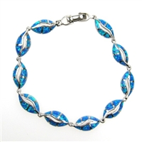 Sterling Silver Bracelet with Inlay Created Opal