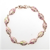 Silver Bracelet (Rose Gold Plated) with Inlay Created Opal