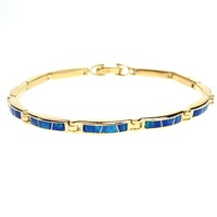 Silver Bracelet (Gold Plated) w/ Inlay Created Opal