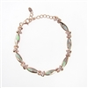 Silver Bracelet (Rose Gold Plated) with Inlay Created Opal & White CZ
