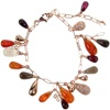 Silver Bracelet (Rose Gold Plated) w/ White CZ, Amber, Agate & Carnelian (Tear Drop Cut)