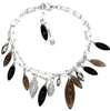 Silver Bracelet (Rhodium Plated) w/ White CZ & Multi Color Semi-Presious Stone