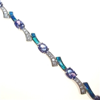 Silver Bracelet with Inlay Created Opal, White & Tanzanite CZ
