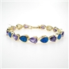 Silver Bracelet (Gold Plated) with Inlay Created Opal & Tanzanite CZ