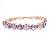 Silver Bracelet (Rose Gold Plated) with Inlay Created Opal and Tanzanite CZ