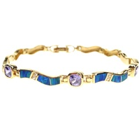 Silver Bracelet (Gold Plated) w/ Inlay Created Opal & Tanzanite CZ