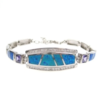 Silver Bracelet with Inlay Created Opal & Tanzanite CZ