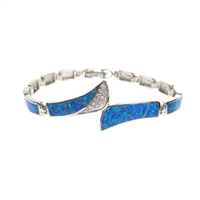 Sterling Silver Bracelet with Inlay Created Opal & White CZ