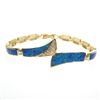 Silver Bracelet (Gold Plated) with Inlay Created Opal & White CZ