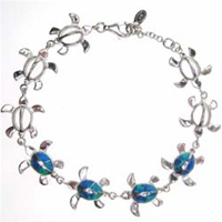 Silver Bracelet(Rhodium Plated) w/ Inlay Created Opal