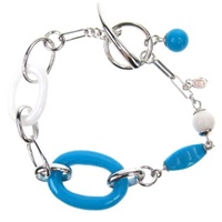 Silver Bracelet (Rhodium Plated) w/ Inlay Created Turquoise & White Crystal