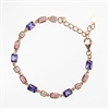 Silver Bracelet (Rose Gold Plated) with Inlay Created Opal, White and Tanzanite CZ