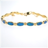 Silver Bracelet (Gold Plated) with Inlay Created Opal