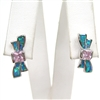 Silver Earrings with Inlay Created Opal and Pink CZ
