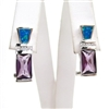 Silver Earring with Created Opal , Tanzanite and White CZ