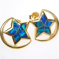 Silver Earrings (Gold Plated) w/ Inlay Created Opal