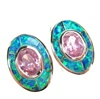Silver Earrings (Rhodium Plated) w/ Inlay Created Opal & Pink CZ