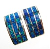 Silver Earrings (Rhodium Plated) w/ Inlay Created Opal