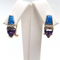 Silver Earring (Gold Plated) with Inlay Created Opal & Tanzanite CZ