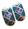 Silver Earrings (Rhodium Plated) w/ Inlay Created Opal & Tanzanite CZ