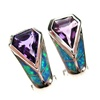 Silver Earrings (Rhodium Plated) w/ Inlay Created Opal & Amethyst CZ