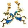 Silver Earring (Gold Plated) W/ Inlay Created Opal