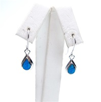 Silver Earring with Created Opal