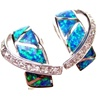 Silver Earrings with Inlay Created Opal & White CZ