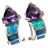 Silver Earrings with Inlay Created Opal and Amethyst CZ