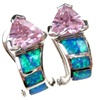 Silver Earrings (Rhodium Plated) w/ Inlay Created Opal, White & Pink CZ