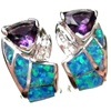 Silver Earrings (Rhodium Plated) w/ Inlay Created Opal, White & Amethyst CZ