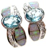 Silver Earrings (Rhodium Plated) w/ Inlay Created Opal, White & Blue Topaz CZ