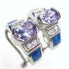 Silver Earring W/ Created Opal+Tanzanite+White CZ
