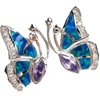 Silver Earrings (Rhodium Plated) w/ Inlay Created Opal, White & Tanzanite CZ