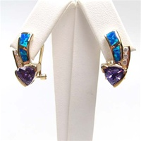 Silver Earring (Gold Plated) with Inlay Created Opal and Tanzanite CZ