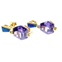 Silver Earrings (Gold Plated) W/ Inlay Created Opal & Tanzanite CZ