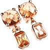 Silver Earring (Rose Gold Plated) w/ Dark Champagne CZ