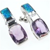 Silver Earring W/ Created Opal and White and Amethyst CZ