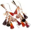 Silver Earrings (Rose Gold Plated) w/ White CZ, Amber, Agate & Carnelian (Cone Cut)