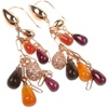 Silver Earrings (Rose Gold Plated) w/ White CZ, Amber, Agate & Carnelian (Tear Drop Cut)