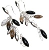 Silver Earrings (Rhodium Plated) w/ White CZ & Multi Color Semi-Presious Stone