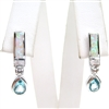 Silver Earrings with Inlay Created Opal, White and Blue Topaz CZ