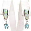Silver Earrings with Inlay Created Opal and Blue Topaz CZ